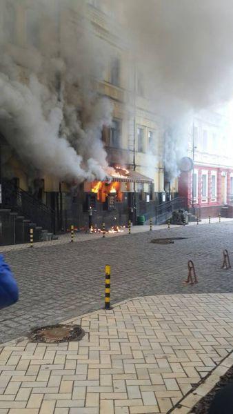 В центральной части Киева горел ресторан