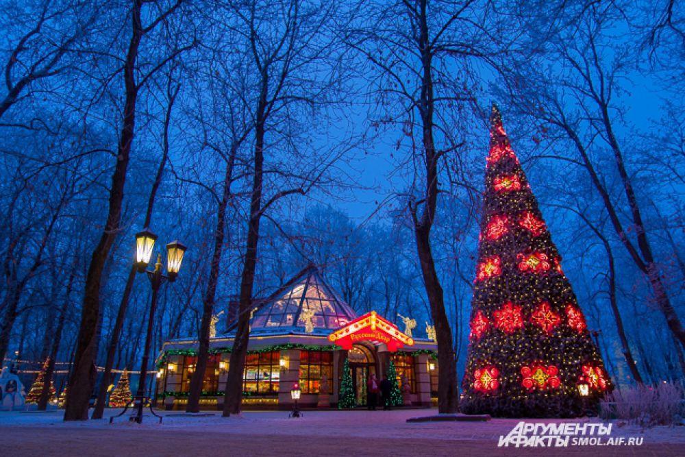В этом году в Смоленске установили целых 11 новогодних елей, потратились и на их украшение, так что город выглядит поистине сказочным.