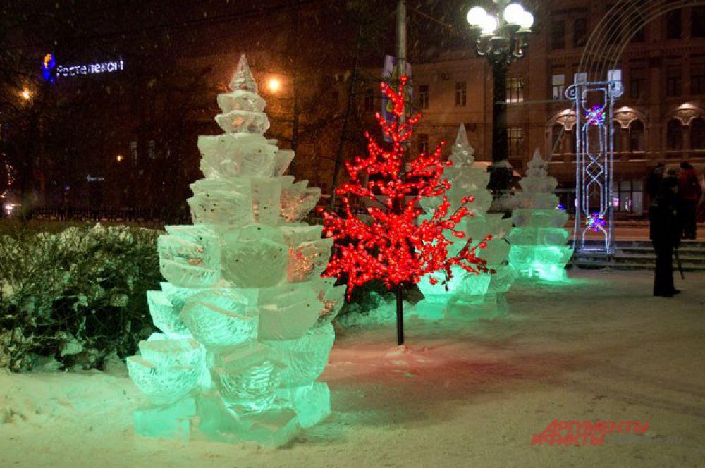 В сквере Дзержинского в Омске начал работать ледовый городок.