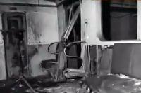 Взорванный вагон метро.
