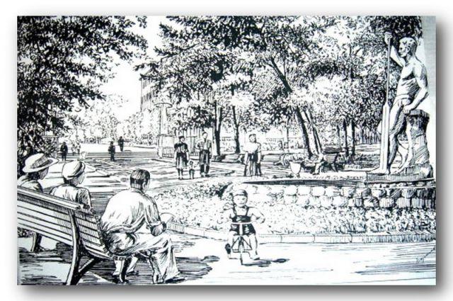 Выставка «История одной улицы или Брянская «Золотая миля». Круглый сквер,1960 год. Рисунок Н.В.Борисова