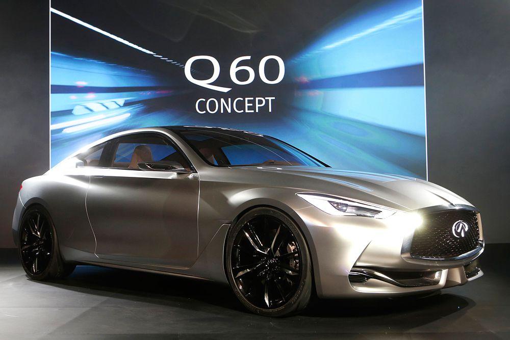 О новом спорткупе Inifiniti Q60 практически ничего не известно. Компания распространила единственный тизер, судя по которому дизайн новинки выполнен в той же стилистике, что и показанный ранее концепт Q80 Inspiration. По слухам, машину оснастят мотором V6 серии VQ мощностью 368 л. с., а «заряженная» версия Eau Rouge получит либо наддувный V6, либо атмосферный V8.
