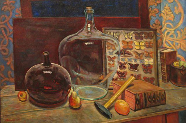 Прыгунов Лев. Натюрморт с бутылями и бабочками.