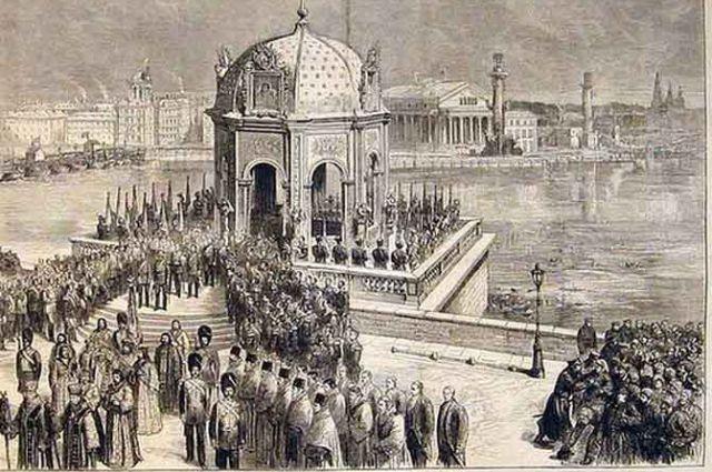Иордань на Неве. Иллюстрация XIX века.