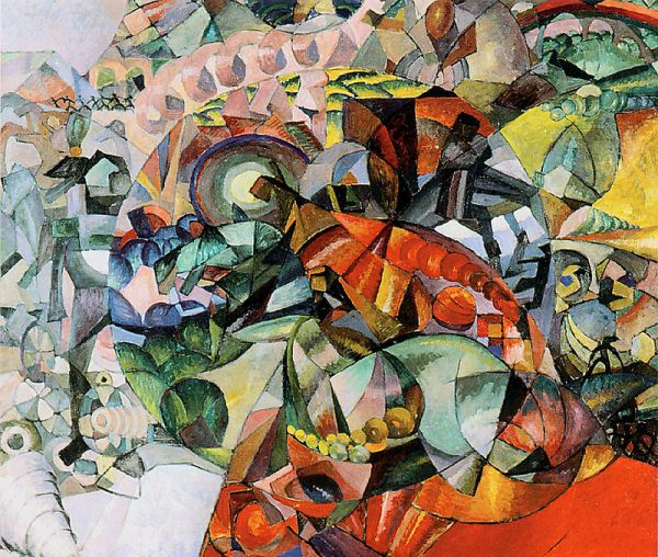 Вернувшись в Россию, внимание Лентулова привлек футуризм. Художник сформулировал идею «совместноцветности», согласно которой все элементы картины должны были восприниматься зрителем не один за одним, а одновременно. Примером таких картин могут служить полотна «Аллегорическое изображение Отечественной войны 1812 года» (1912) и «Сюжет из балета».
