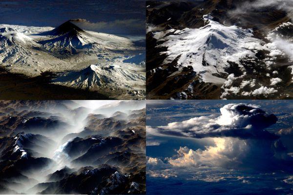А вот за такой вид из окна, действительно, не жалко заплатить и миллионы (на фото: вулканы Камчатки, Эльбрус, Анды и вид облаков).