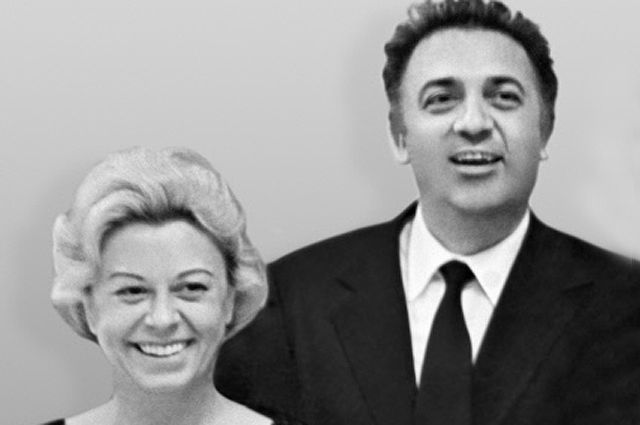 Джульетта Мазина и Федерико Феллини в Кремлёвском дворце съездов, 1963 год.