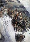 Четыре года длилась работа Сурикова над историческим полотном «Переход Суворова через Альпы» (1899). За время работы над картиной Суриков посетил Швейцарию, где написал часть этюдов для полотна. Картина была закончена в год столетия итальянского похода Суворова и сразу приобретена Николаем II.