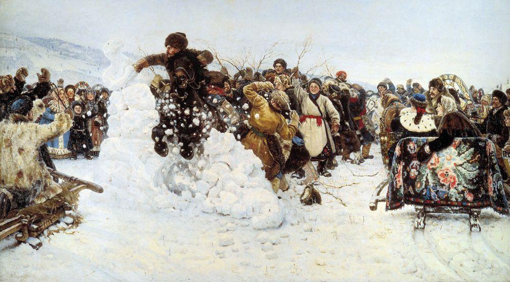 После смерти жены в 1888 году Суриков с двумя дочерьми уехал на год в Красноярск. Здесь художник работал над картиной, изображающей старинную русскую игру, которая была частью масленичных гуляний - «Взятие снежного городка»(1891). Через 9 лет после написания полотно получило именную медаль на выставке в Париже.