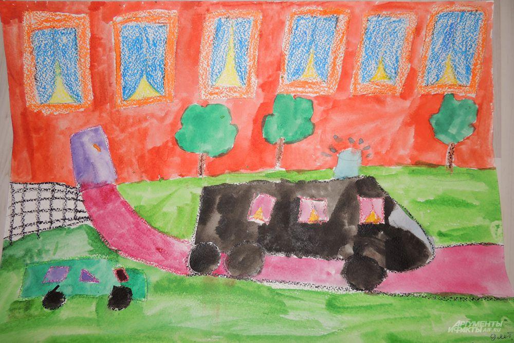 Мацук Катя (9 лет) изобразила чиновника мчащегося на большой черной машине с мигалкой.