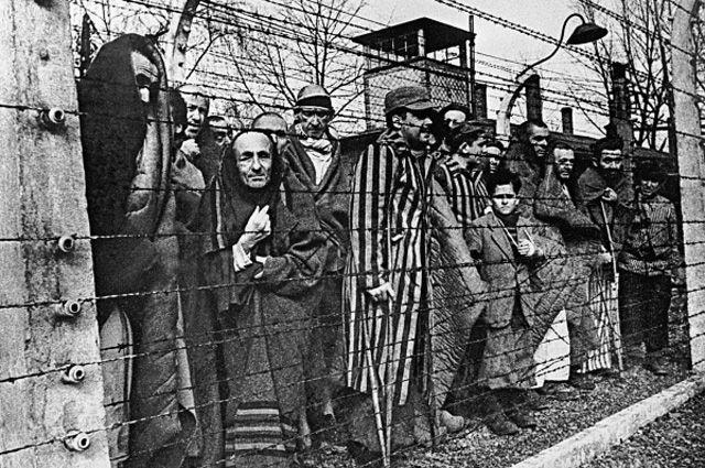Заключенные концлагеря Освенцим смотрят в объектив из-за колючей проволоки. 27 января 1945 год.