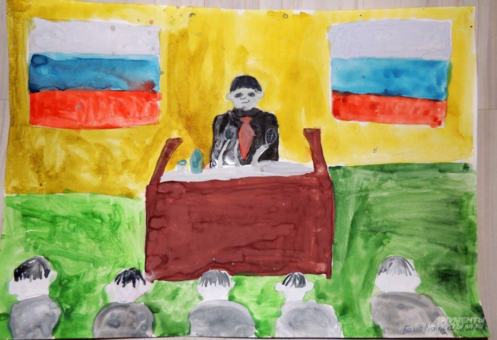 Работа настоящего чиновника заключается в постоянных выступлениях. Это на своем рисунке и изобразил Матвей Балло (8 лет).