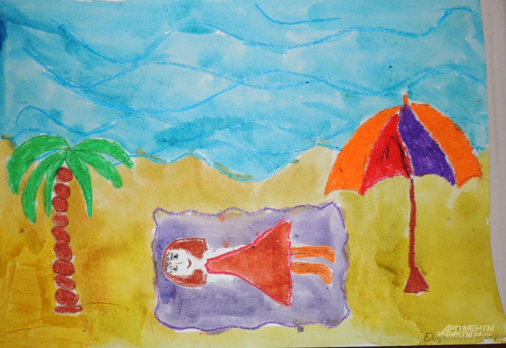 По мнению Карины Беджанян (8 лет) работа женщин-чиновников – настоящий морской отдых среди пальм.