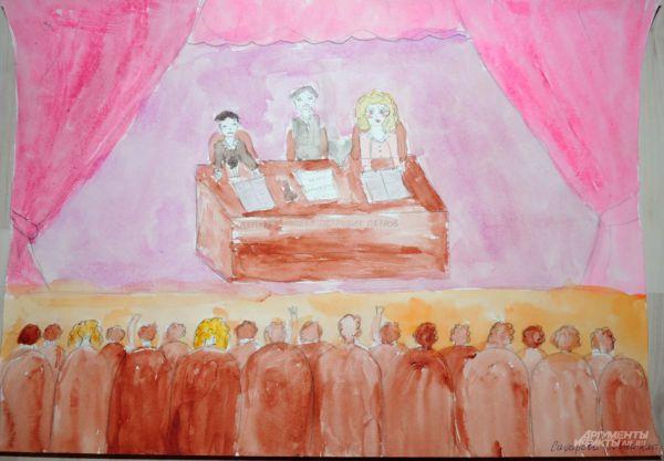 На большинстве рисунков чиновники изображены восседающими за столом. Если приглядеться, то на рисунке Лены Сафаровой (8 лет) можно разглядеть лежащие на столе бумаге. По мнению юной художницы – это список. А вот какой, остается только догадываться.