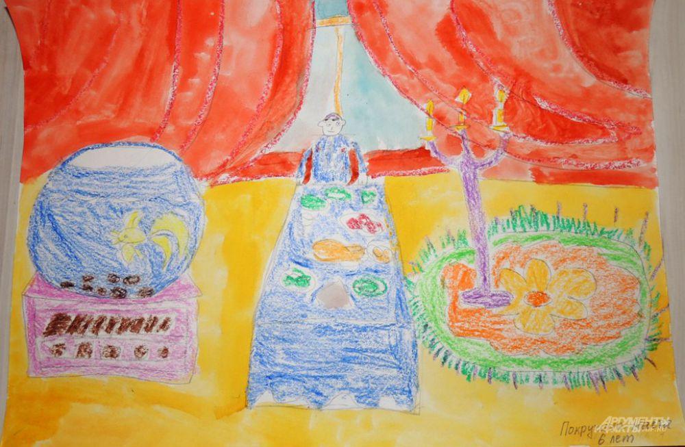 Покручина Настя (6 лет) тоже изобразила чиновника, восседающего за столом. Только он уставлен всякими вкусностями. Трапезу слуги государства освещает канделябр со свечами.