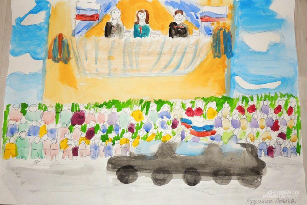 На рисунке Полины Кузьминой (8 лет) чиновники – практически небожители. Откуда сверху они взирают на массу абсолютно одинаковых людей с пустыми головами и загадочно улыбаются.