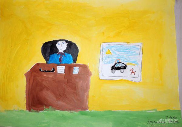 Каждый чиновник похож на президента. Именно такое мнение складывается при взгляде на рисунок Казаковой Лены (7 лет). Но помимо того, что чиновники хотят походить на главу государства, они еще мечтают о черной машине с мигалкой, отдыхе у моря и… маленькой собачке. Иначе, зачем они вешают на стене в своем рабочем кабинете такие картинки?