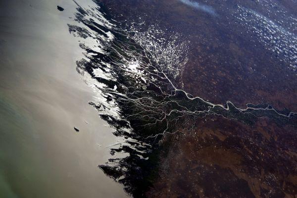 Потрясающий вид дельты реки.