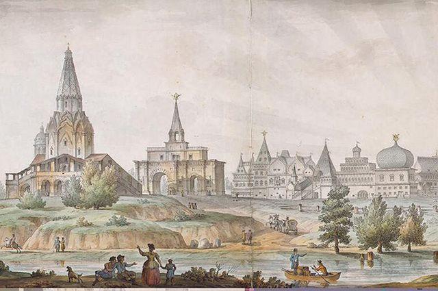 Панорама села Коломенское. Акварель Сухова по рисунку Кваренги, 1930 г.