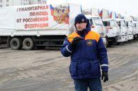 Сотрудник МЧС России у грузовых автомобилей с российской гуманитарной помощью.