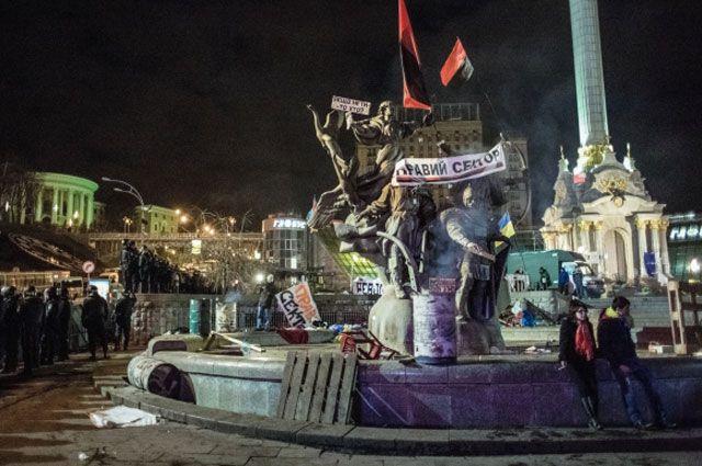 Площадь Независимости в Киеве после разгона палаточного лагеря сторонников евроинтеграции в Киеве. Январь 2014 года.