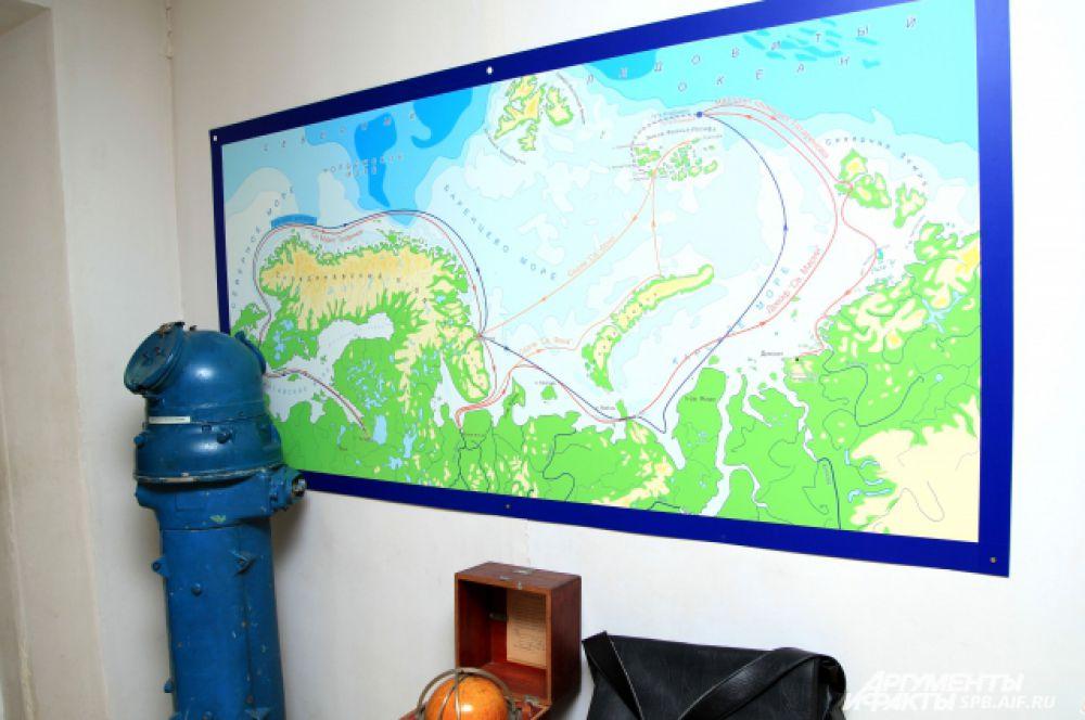 Карта экспедиций Седова и Брусилова