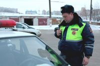 Инспектор ДПС за работой.