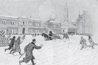 Убийство великого князя Сергея Александровича на Сенатской площади Кремля. Картина неизвестного автора, 1905 г.
