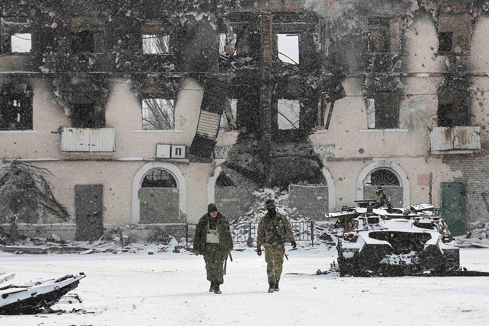 Бойцы ДНР в Углегорске.