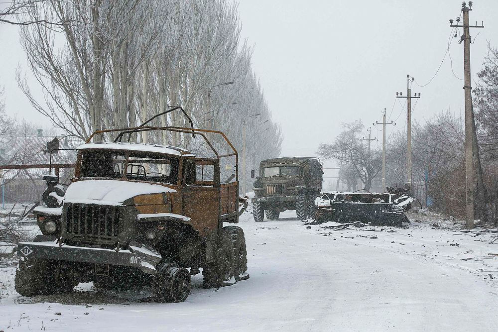 Уничтоженная военная техника в районе Углегорска.