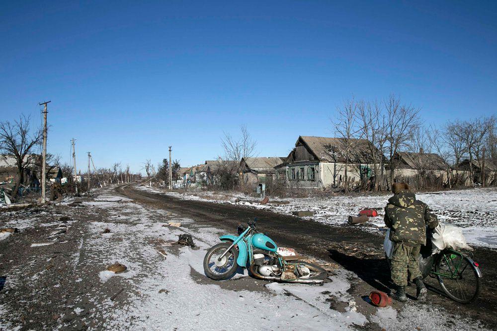 Деревня Никишино, практически уничтоженная в результате боев.