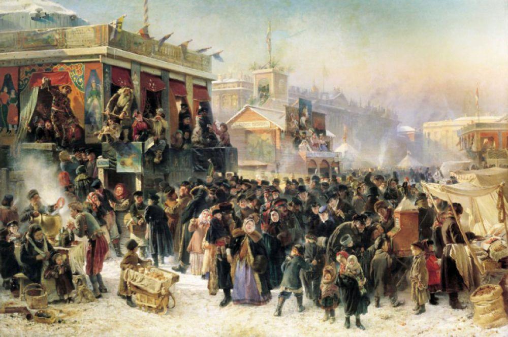 Константин Маковский, «Народное гулянье во время Масленицы на Адмиралтейской площади в Петербурге». 1869