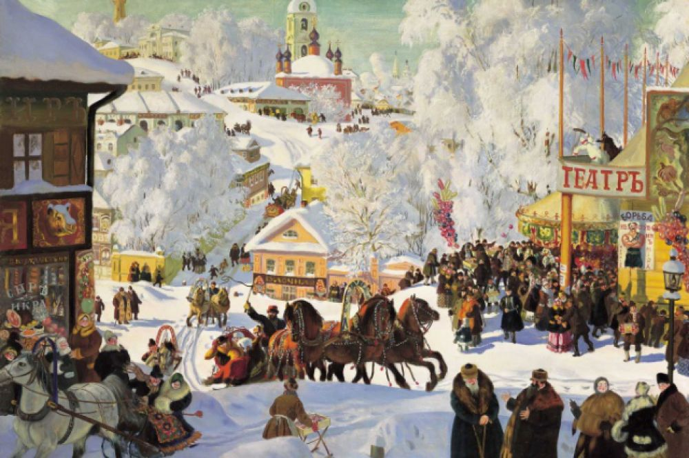 Борис Кустодиев, «Масленичное катание». 1919