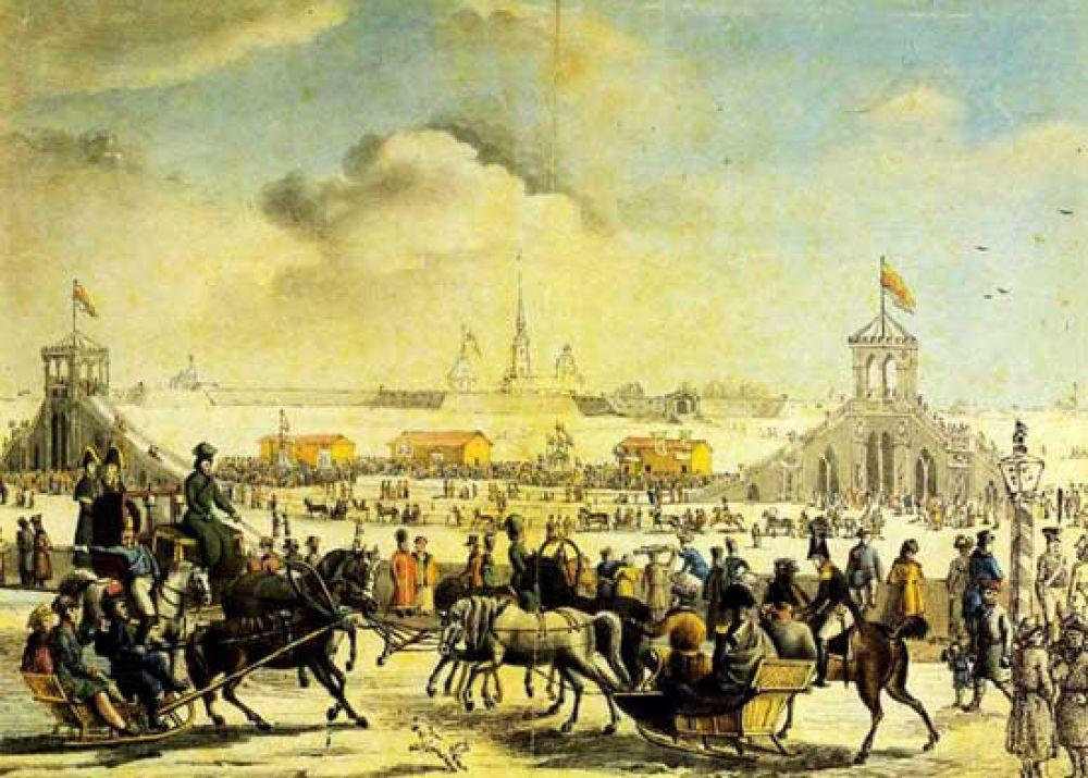 Николя Серракаприола, «Катальные горы на большой Неве». 1817