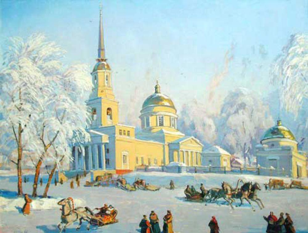 Валентин Белых, «Собор Александра Невского. Масленица». 1908