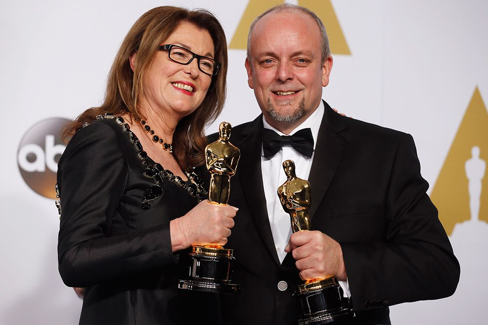 """Фрэнсис Хэннон и Марк Кольер получили награду за лучший грим («Отель """"Гранд Будапешт""""»)."""