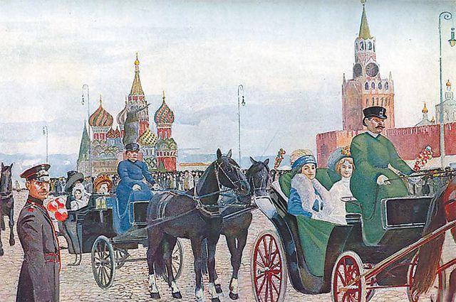 Катание в Вербное воскресенье на Красной площади. В. Россинский.