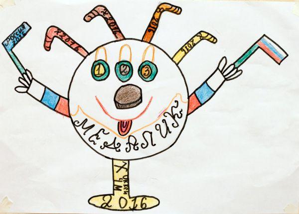 Талисман: «Медалик». Автор талисмана: Егоров Егор Юрьевич. Описание идеи: У Медалика три глаза — это три медали: золотая, серебряная и бронзовая, шайба вместо носа и волосы-клюшки.