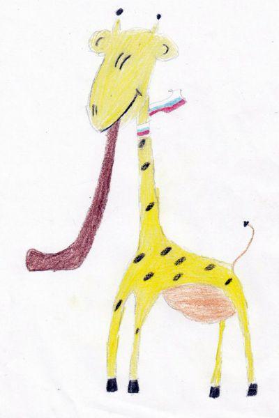 Талисман: «Жираф Жирафлюша». Автор талисмана: Ралузина Александра Дмитриевна. Описание идеи: Как-то давно жираф снимался в рекламе и вместо Skittles он откусил кусочек клюшки. И теперь он никогда не расстается с ней, для него он талисман. Возьмите его в команду, он будет очень рад!