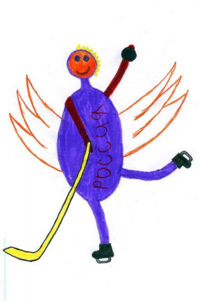 Талисман: «Дракон». Автор талисмана: Шкатова Ангелина Анатольевна. Описание идеи: Я выбрала дракона потому, что мне так захотелось и я считаю, что драконы в мультфильмах любят кататься на коньках и всегда побеждают. Ещё я нарисовала клюшку, шайбу и коньки потому, что это связанно с хоккеем.