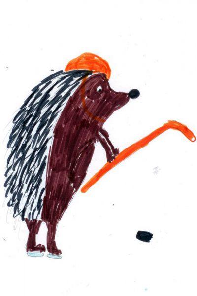 Талисман: «Ёжик Вася». Автор талисмана: Славина Эвелина Вадимовна. Описание идеи: Это мое любимое животное. Он на коньках, потому что на льду. Он держит клюшку и хочет забить шайбу. Ему нужен шлем, чтобы он не повредил голову.
