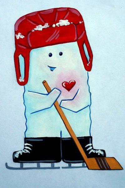 Талисман: «Льдишка». Автор талисмана: Помешкина Татьчна Константиновна. Описание идеи: Это тот, кто всегда болеет за хоккеистов и радуется их победам. Незримый участник всех соревнований и пламенный болельщик!