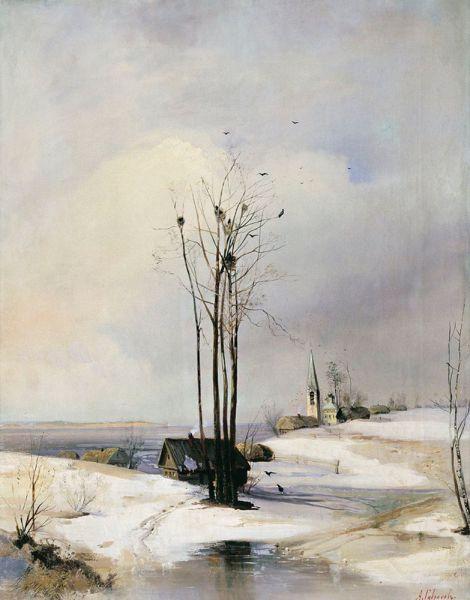 Алексей Саврасов. «Ранняя весна. Оттепель». 1880-е годы.