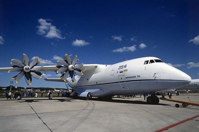 Транспортный самолёт Ан-70, разработан на авиационном научно-техническом комплексе им. О. К. Антонова.
