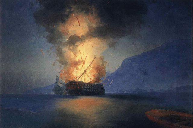 Картина Ивана Айвазовского «Взрыв корабля».