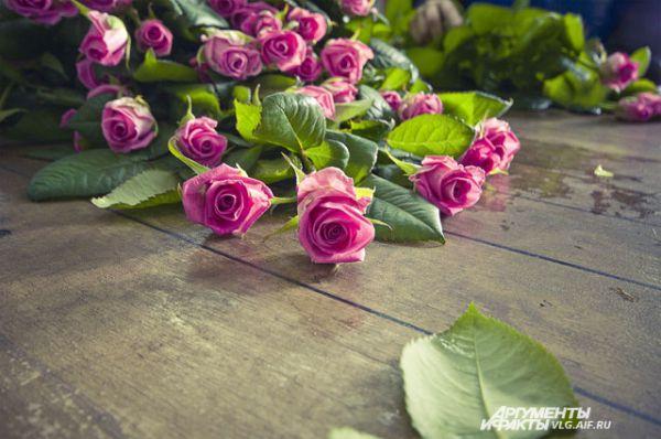 Срезка цветов происходит 2 раза в день, после чего они сортируются и помещаются в холодильник.
