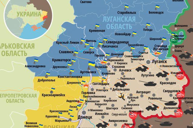 Самопровозглашенные ДНР и ЛНР на карте Донбасса