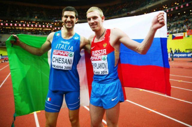 Легкоатлеты Сильвано Чезани (слева) и Даниил Цыплаков (справа)