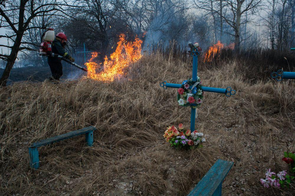 Пожар на кладбище в деревне Скоробогатская Слобода Новозыбковского района. 24 марта.