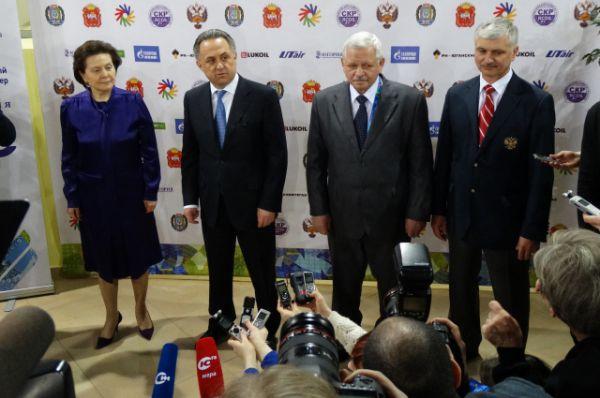 Пресс-конференция Натальи Комаровой, Виталия Мутко, Валерия Рухледева и Александра Романцова.